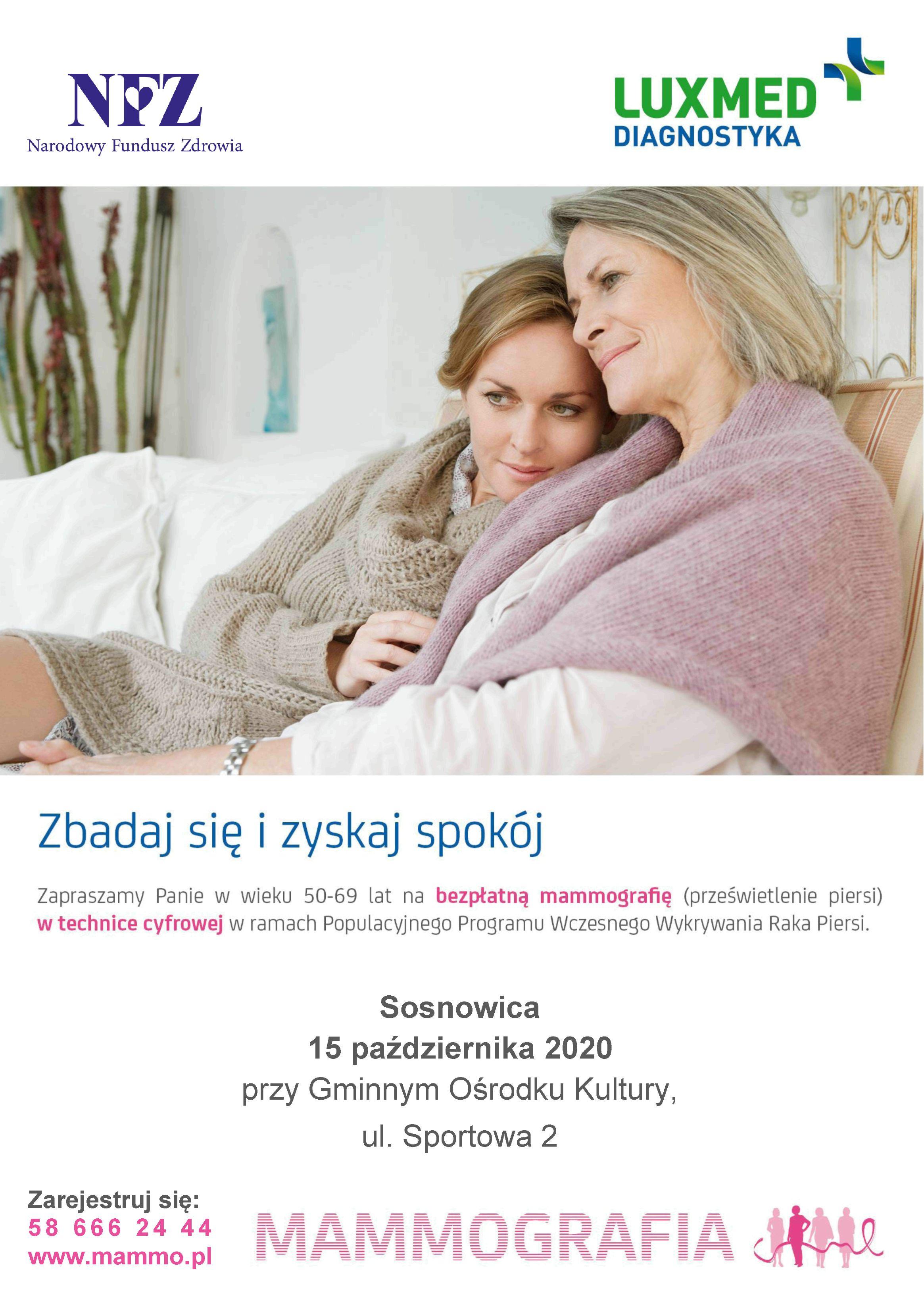 Zapraszamy na badanie mammograficzne w Sosnowicy 15 października 2020 w godzinach od 10.00 do 16.00 przy Gminnym Ośrodku Kultury, ul. Sportowa 2.
